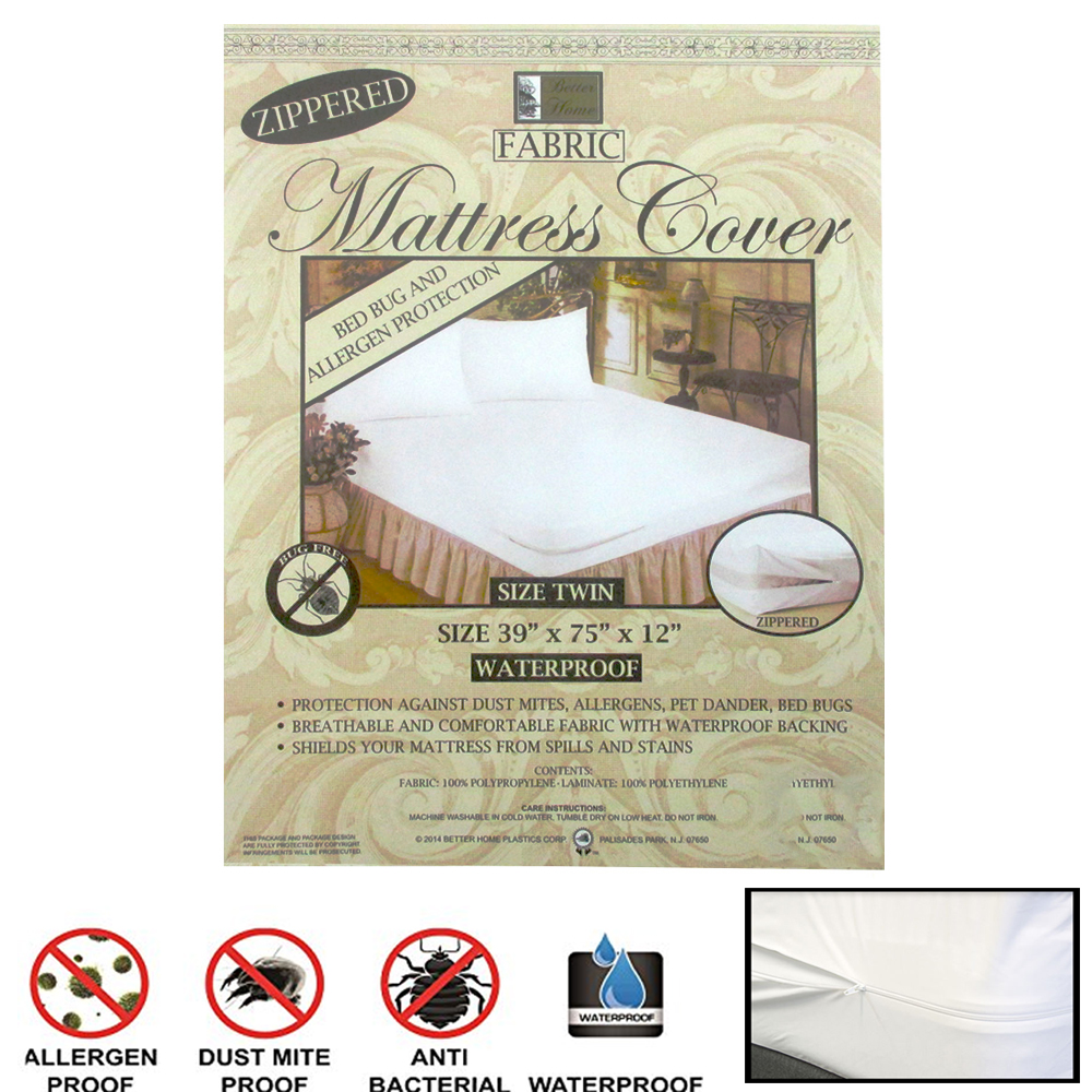 12 Pc Twin Size Fabric Zippered Mattress Cover Bed Bugs Water Allergen Protector