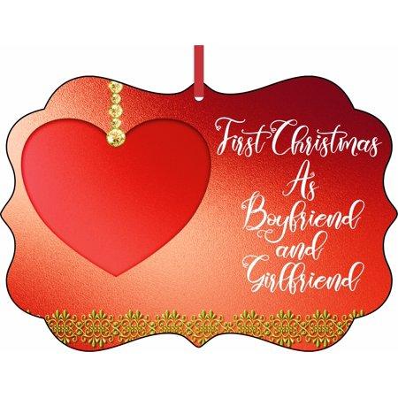 First Christmas as Boyfriend and Girlfriend Elegant Aluminum SemiGloss Christmas Ornament Tree Decoration - Unique Modern Novelty Tree Décor Favors](Elegant Christmas Ornaments)