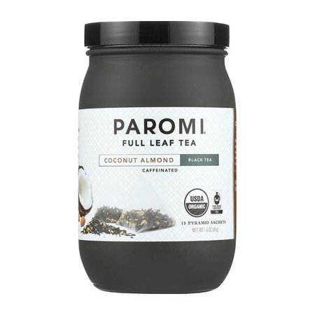 Paromi Tea, Coconut Almond, Organic and Fair Trade Black Tea, Full-Leaf, 15 Ct, 1.6 Oz