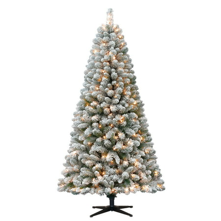 Holiday Time 6.5ft Flocked Pre-Lit Crystal Pine Artificial Christmas Tree with 250 Clear Lights - - Flocked Utica Tree