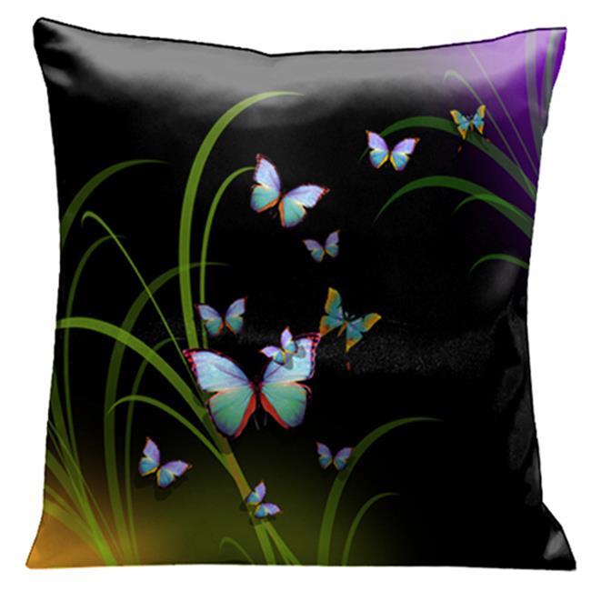 Lama Kasso 76 A Mass of Beautiful Butterflies Amongst the Reeds on Black and Purple 18 in. Square Satin Pillow