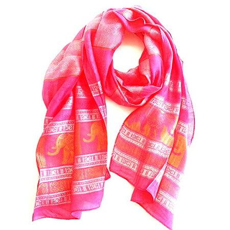Elephant Wrap - Oma Thai Elephant Silk Scarf Head Wrap Pink & Gold, LARGE SIZE