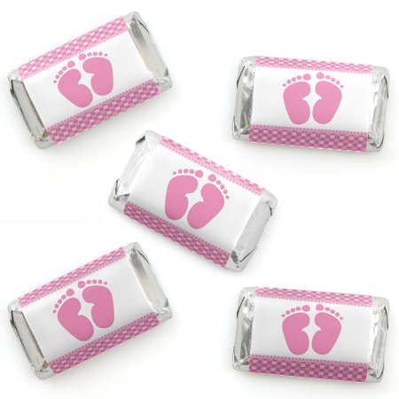Baby Feet Pink - Baby Shower Mini Candy Bar Wrappers Party Favors - 40 Count