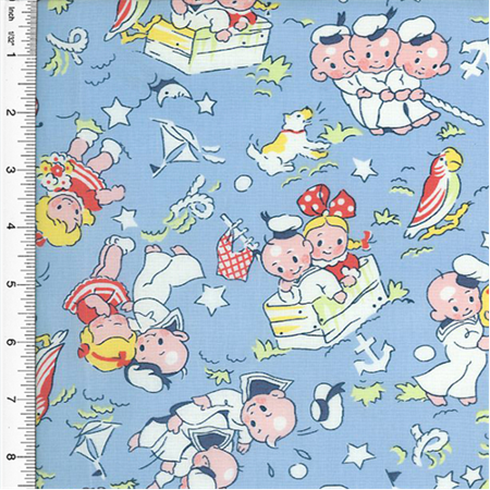 Designer cotton blue multicolor young love children print for Childrens cotton fabric by the yard