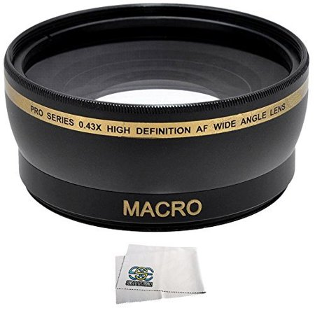 .43x Wide Angle/Macro Lens for Canon 18-55mm, 55-250mm, 75-300mm III, 70-300mm IS USM, 24mm F2.8, 28mm F1.8, 50mm F1.4, 65mm F2.8, 85mm F1.8, 90mm F2.8, 100mm F2 & 100mm F2.8