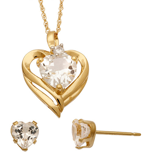 CZ and Created White Sapphire 14kt Gold over Sterling Silver Heart Pendant and Earrings Set