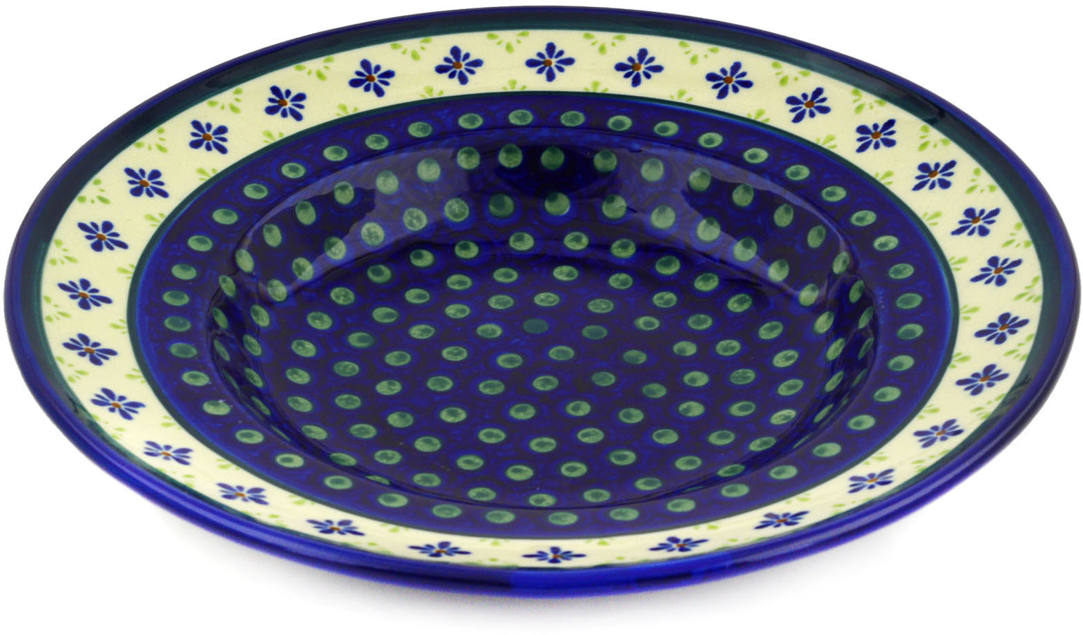 Polish Pottery 11�-inch Pasta Bowl (Green Gingham Peacock Theme) Hand Painted in Boleslawiec, Poland +... by Zaklady Ceramiczne