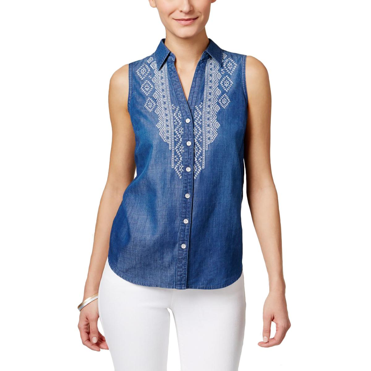 Vintage America Womens Embroidered Sleeveless Button-Down...