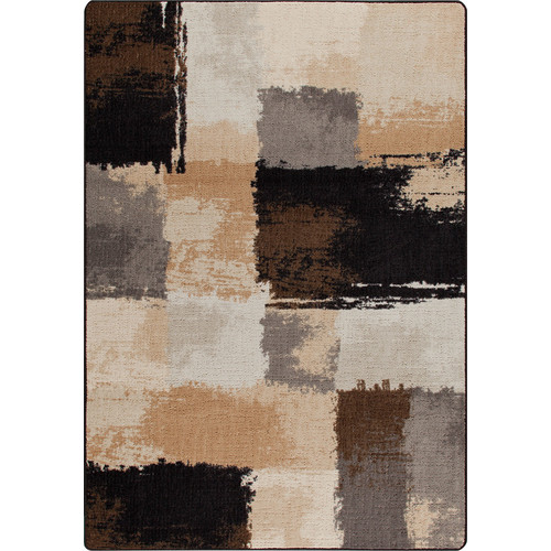 Milliken Mix and Mingle Black/Tan Fair And Square Rug