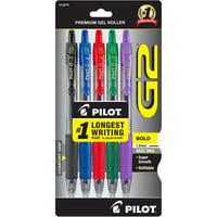 Pilot G2 Retractable Gel Ink Pens, Bold Point, Asst, 5 Pack, 539990980