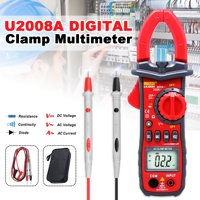 UYIGAO U2008A Digital Wire Clamp Meter, Multimeter Volt Meter 1999 Counts with LCD Display Automatic/Manual Ranging Measures Voltage Tester AC Current Resistance Red