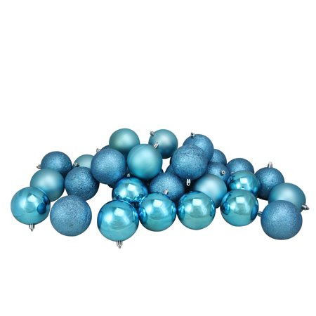 32ct Turquoise Blue Shatterproof 4-Finish Christmas Ball Ornaments 3.25
