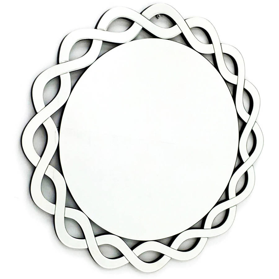"Fab Glass and Mirror THE CUMBERLAND Modern Round Framed Vanity Mirror, 31.5""L x 31.5""W by Fab Glass and Mirror"