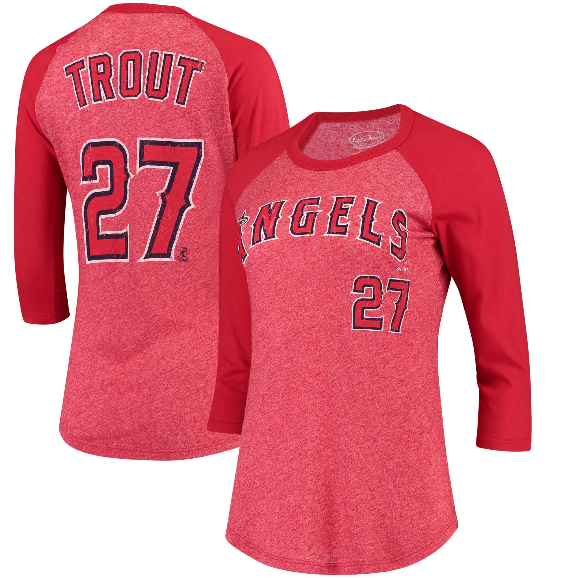 Mike Trout Los Angeles Angels Majestic Threads Women's Name & Number Tri-Blend Three-Quarter Length Raglan T-Shirt - Red