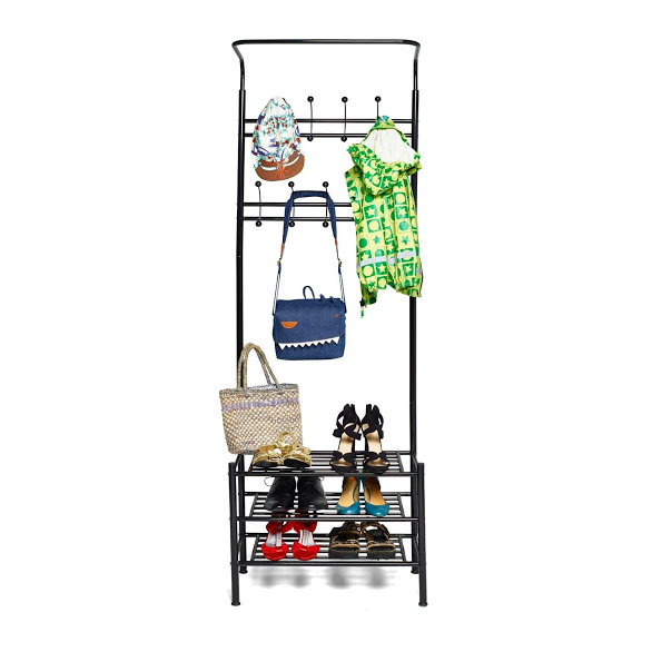 Metal Hall Tree Entryway Bedroom Coat Rack Stand with 3-Tier Shoe Bench Storage Shelf Coat Hat Bag Umbrella Shoe Hanger Organizer