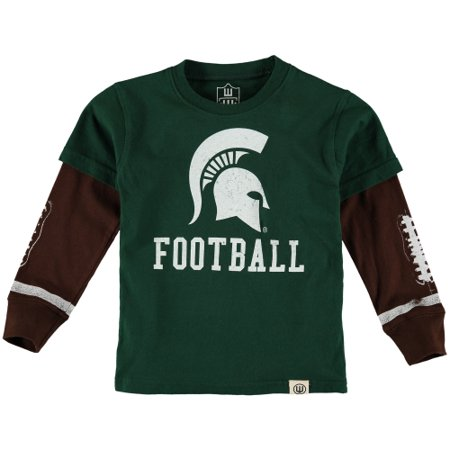 Michigan State Spartans Wes & Willy Infant Football Fooler Long Sleeve T-Shirt - (Wes And Willy Boys Clothing)