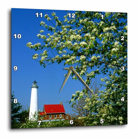 3dRose Michigan, Tawas Lighthouse, cherry trees - US23 BJA0096 - Jaynes Gallery - Wall Clock, 10 by 10-inch