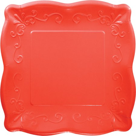 Red Square Plates (Club Pack of 48 Coral Red Embossed Scroll Design Square Luncheon Party Plates)