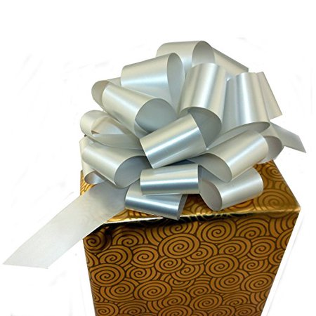 "Large Silver Gift Pull Bows - 9"" Wide, Set of 6, Christmas Present Decorations"