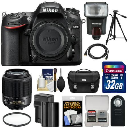 Nikon D7200 Wi-Fi Digital SLR Camera Body with 55-200mm DX AF-S Lens + 32GB Card + Battery & Charger + Case + Tripod + Flash + Kit