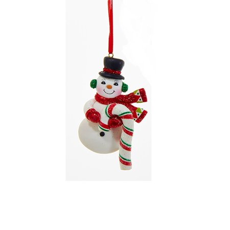 """Kurt S. Adler 4.5"""" Peppermint Twist Snowman with Red Scarf, Mittens and Candy Cane Christmas Ornament - White/Red"""