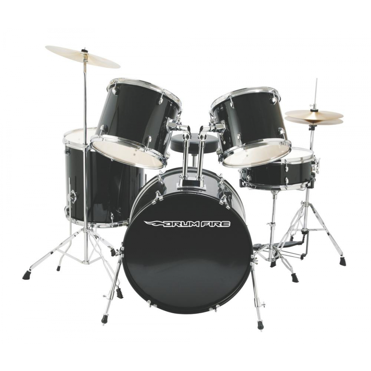 5-Piece Drum Set , Gloss Black by The Music People Inc.