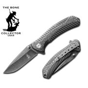 "8""  The Bone Collectors Stone Washed Pocket Knife with Belt Clip"