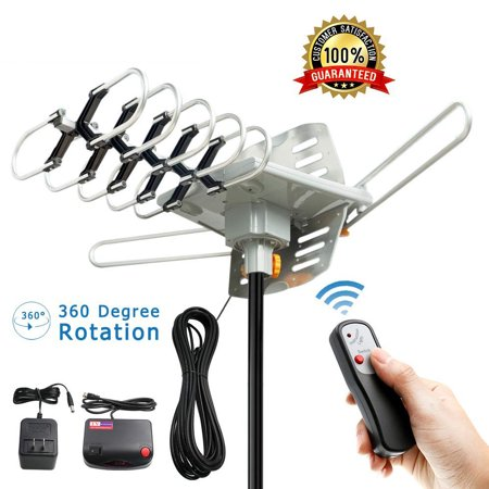 Zimtown 150Miles Outdoor  TV Antenna Motorized Amplified HDTV High Gain 36dB UHF