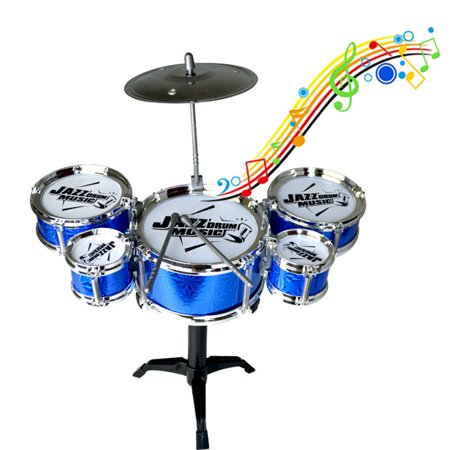 Kids Musical Toys Simulation Jazz Drum Music with 5 Drums Sets Beat Children's Educational Instrument Gifts for Boys Girls Random Color