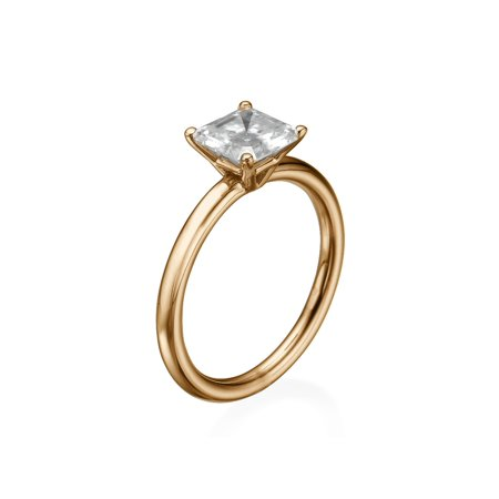8.00MM Forever One D-F VS Moissanite Engagement Ring (0.96 ct Moissanite Weight, 3.14 ct dew) Asscher Cut 14K Gold ()