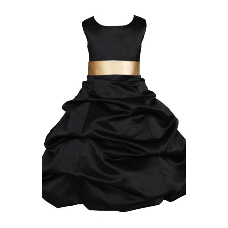 Ekidsbridal Formal Satin Black Flower Girl Dress Wedding Pageant Toddler Recital Easter Holiday Communion Birthday Girls Baptism Special Occasions Formal Events Junior Bridesmaid 806s (Black Tie For Girls)