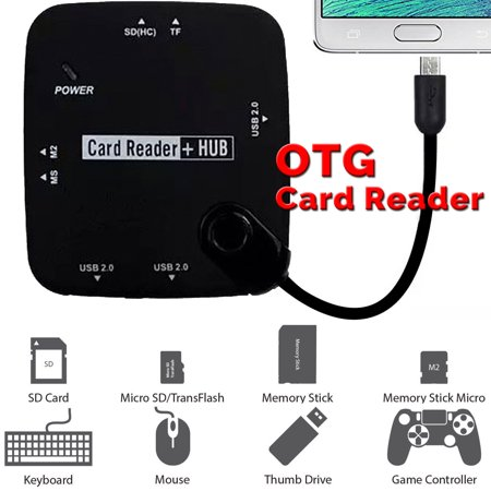 OTG USB HUB and Card Reader, TSV 7 in 1 Micro USB OTG adapter HUB OTG SD/MS/M2/TF Card reader,3 USB 2.0 Adapter HUB for Samsung Galaxy S3 S4 Note 2 Note 3 Note 4 ()