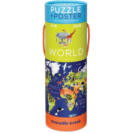 Crocodile Creek World Map 200-Piece Jigsaw Puzzle and Matching Poster