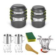 16pcs Lightweight Pan Mini Cup Fork Cutter Spoon Kits for 2 People Camping Cookware Mess Kit for Outdoor Backpacking Camping Hiking Picnic
