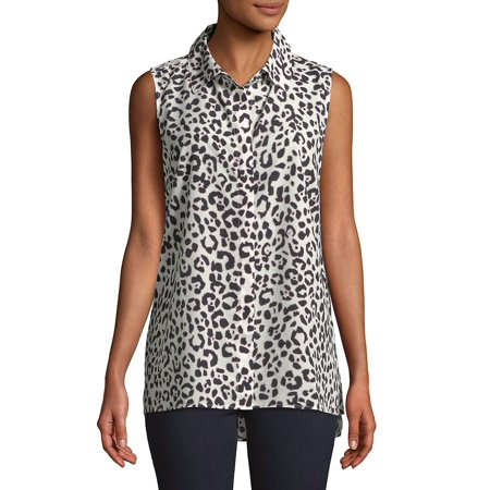Printed Sleeveless Button-Down (Austin Reed Clothing)