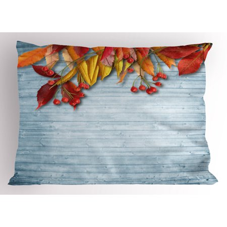 Rowan Pillow Sham Vintage Autumn Composition with Dried Rowan Leaves Berries on Wooden Planks, Decorative Standard Size Printed Pillowcase, 26 X 20 Inches, Baby Blue Red Yellow, by Ambesonne