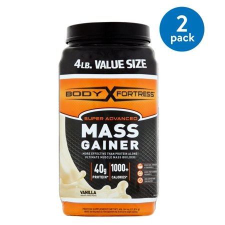 (2 Pack) Body Fortress Super Advanced Mass Gainer Protein Powder, Vanilla, 40g Protein, 4 (2.91 Lb Protein Blend)