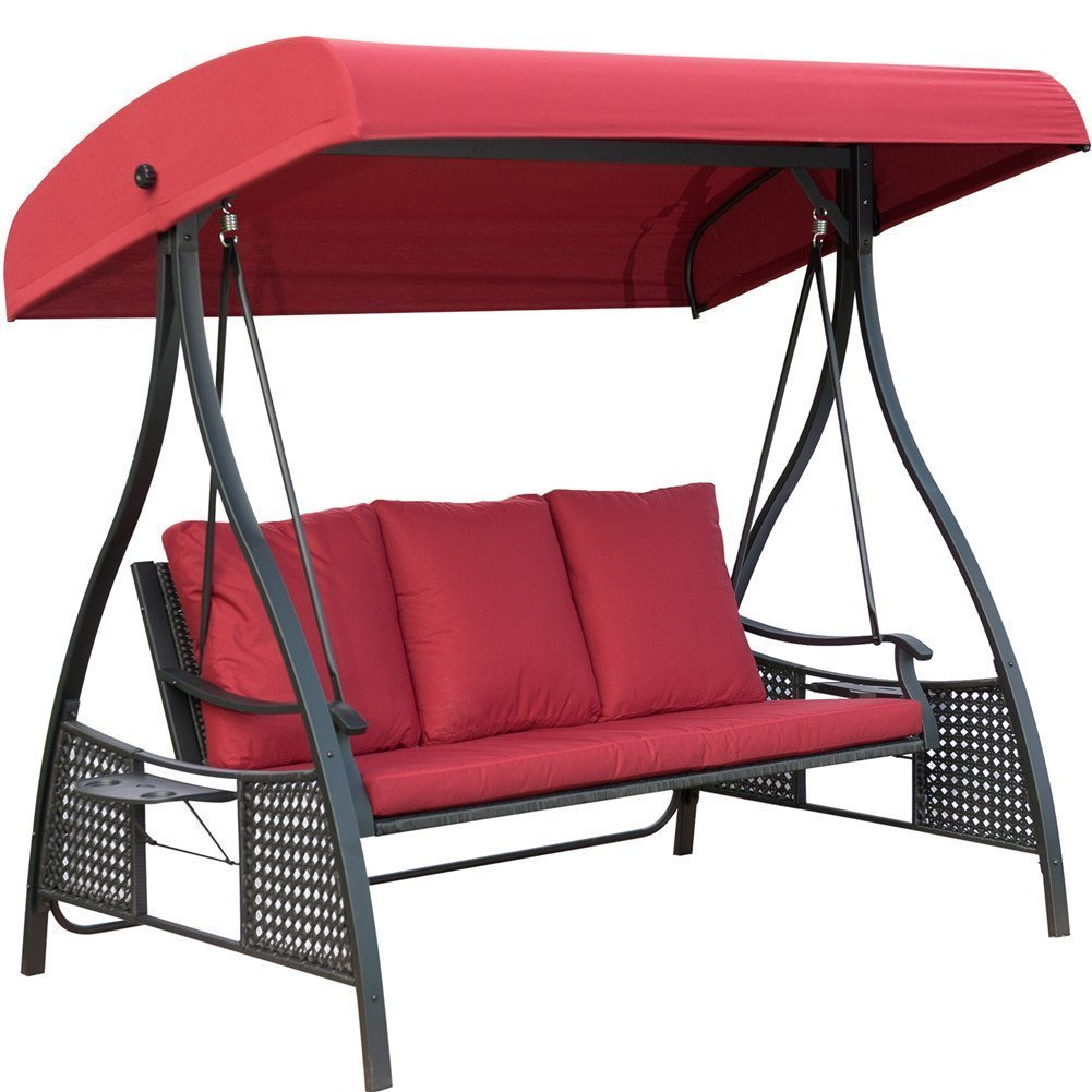 PatioPost Outdoor Swing Chair, Seats 3 Porch Patio Padded Swing Hammock Glider with Steel Powder Coated Frame, Red