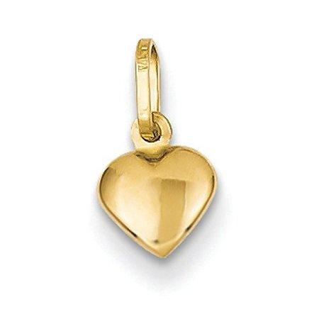 14K Yellow Gold Small Puffed Heart Charm Pendant MSRP (Gold Small Heart Charm)