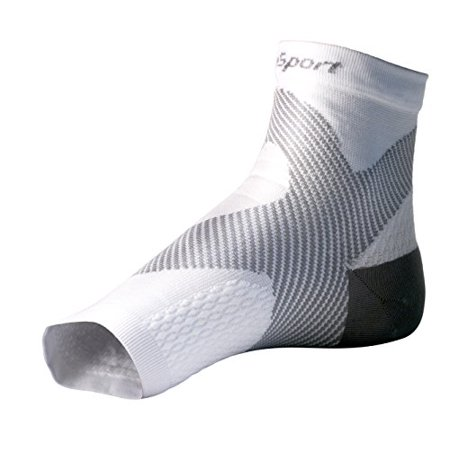 Suresport  Ultra 8 Plantar Fasciitis Foot   Ankle Compression Sleeve  White And Grey  L Xl Toeless Sock For Heel Arch   Ankle Support Men   Women   Accelerated Recovery  Reduced Muscle Fatigue   Breat