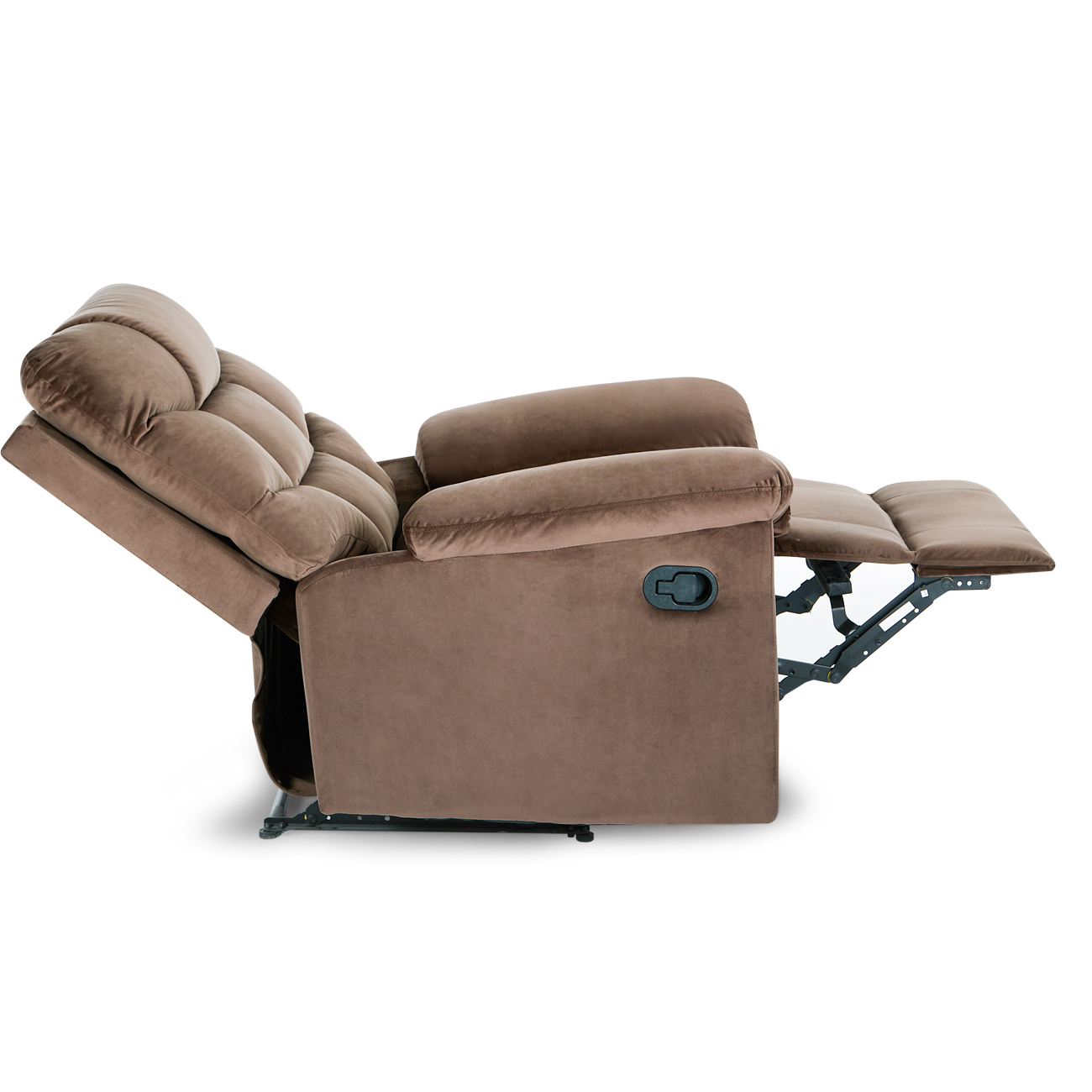 Belleze microfiber contemporary full recliner lounger high back extra padded overstuffed armrest backrest chair brown walmart com