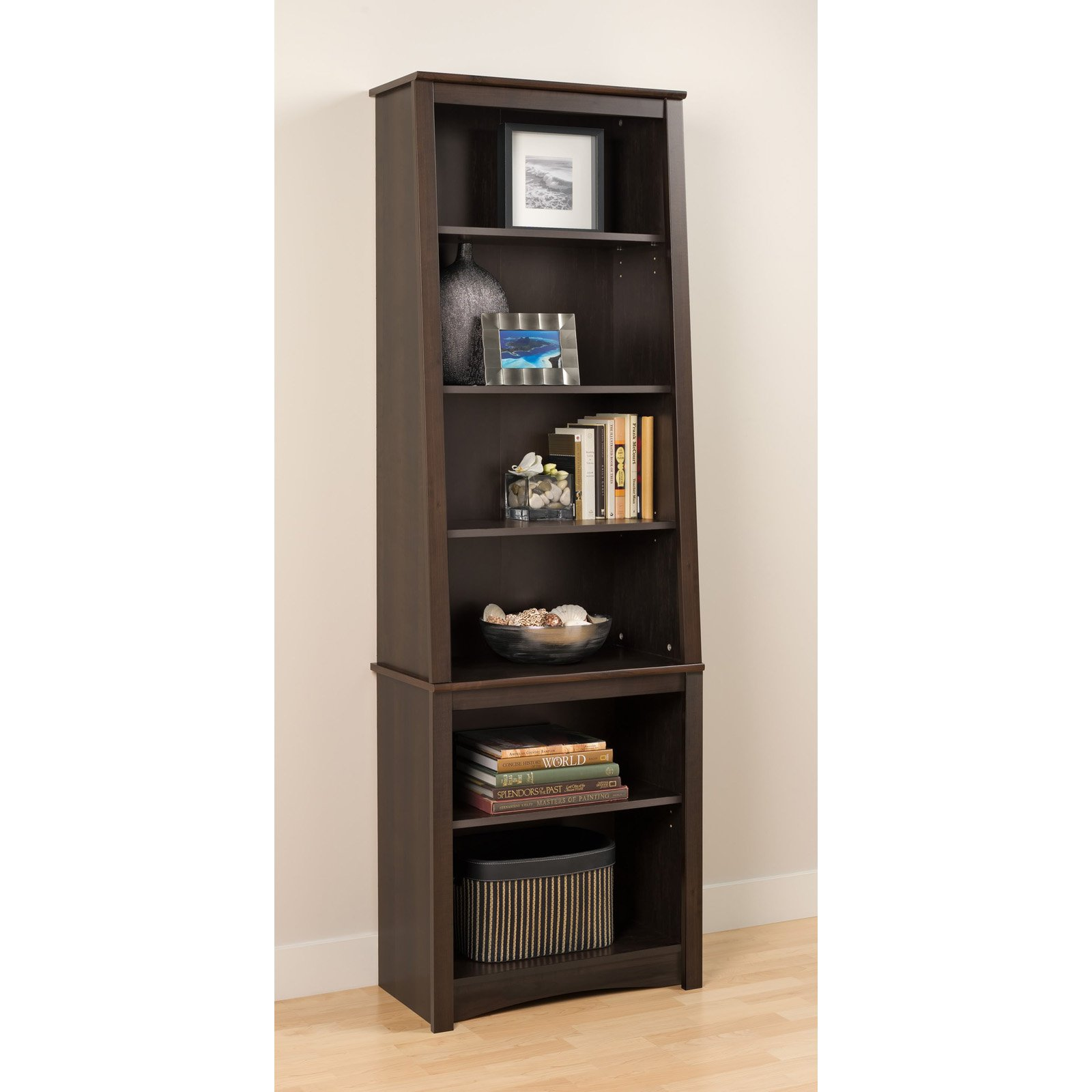 Prepac 6-Shelf Slant Back Bookcase, Espresso by Prepac Manufacturing Ltd