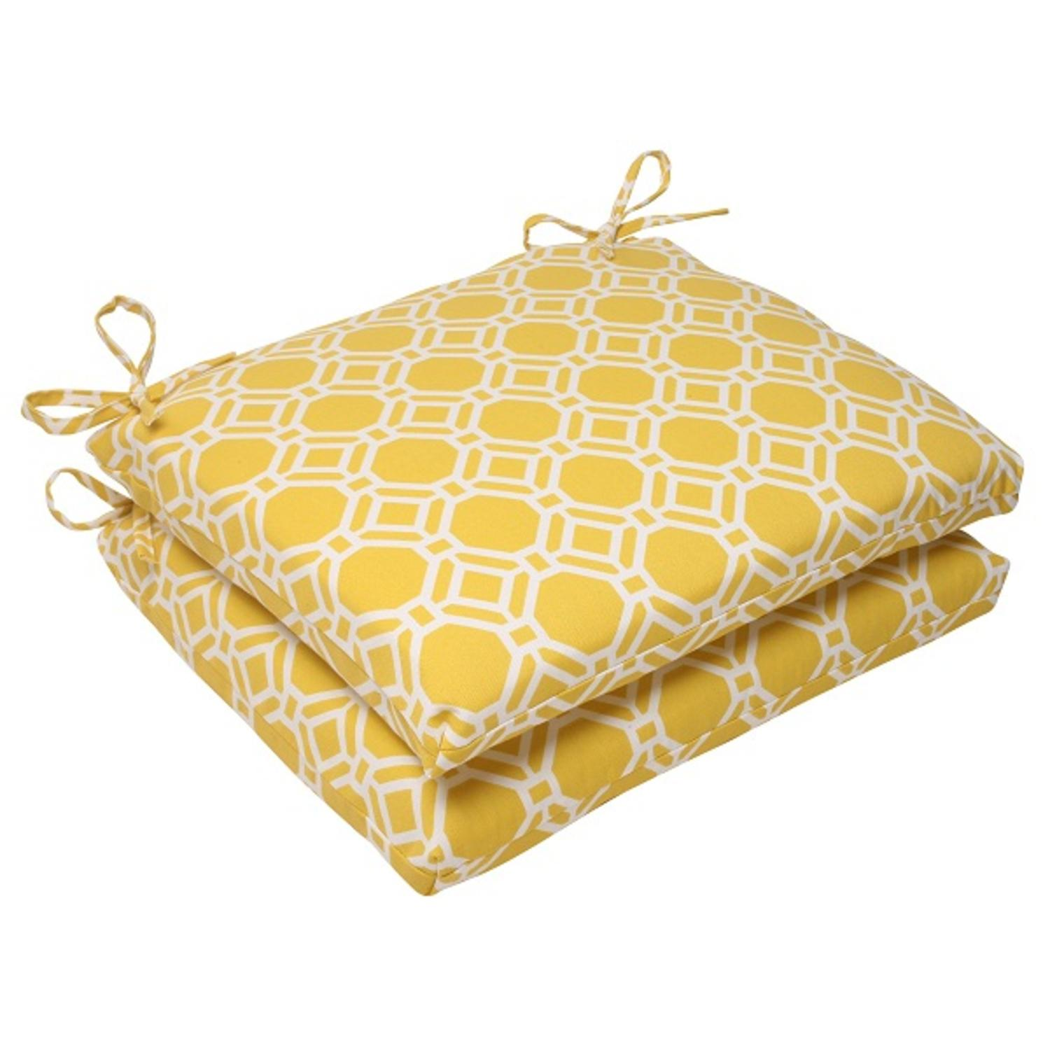 Set of 2 Sunny Yellow & White Geometric Square Outdoor Patio Seat Cushions 18.5""