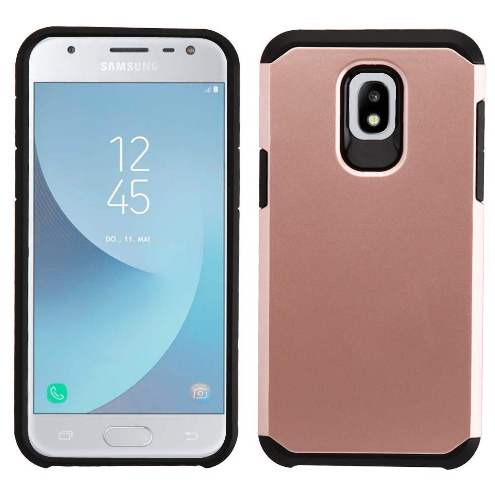Dual Armor Case Compatible with Samsung Galaxy J3 Orbit, Slim Shockproof Hybrid Protection Cover Case for Samsung Galaxy J3 Orbit - Rose Gold