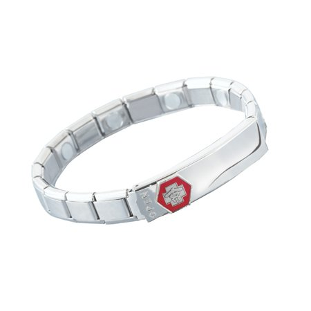 Stainless Steel Medical ID Bracelet with symbol, Womens, Woman Collection Stainless Steel Bracelet