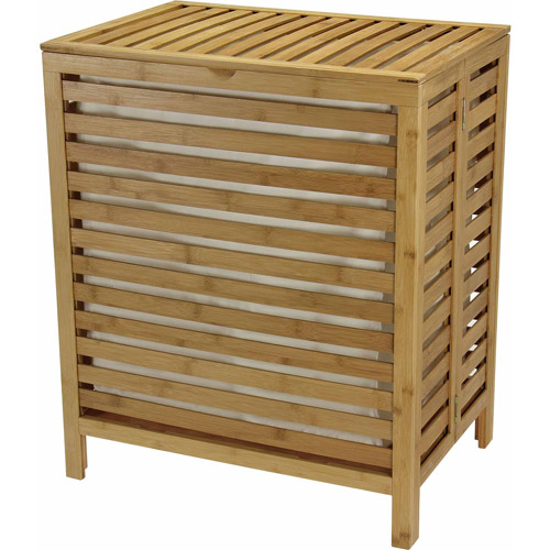 Household Essentials Natural Bamboo Open-Slat Hamper, Beige