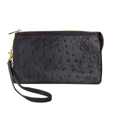 Vegan Leather Faux Ostrich Wristlet - Textured Dot Convertible Wallet Crossbody Bag Clutch Purse with Shoulder Strap, by Humble Chic
