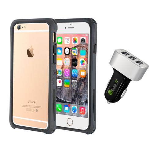iPhone 6 Case Bundle (Case + Charger), roocase iPhone 6 4.7 Linear Bumper Open Back with Corner Edge Protection Case Cover with Black 5.1A Car Charger for Apple iPhone 6 4.7-inch, Gray