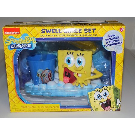 Swell Smile Set (Toothbrush & Holder With Mini Cup), SpongeBob Squarepants Swell Smile Set (Toothbrush & Holder With Mini Cup) By SpongeBob SquarePants (Spongebob Cup)