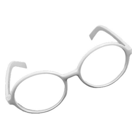 Eyewear Clear Round Lens White Plastic Frame Glasses - Walmart.com